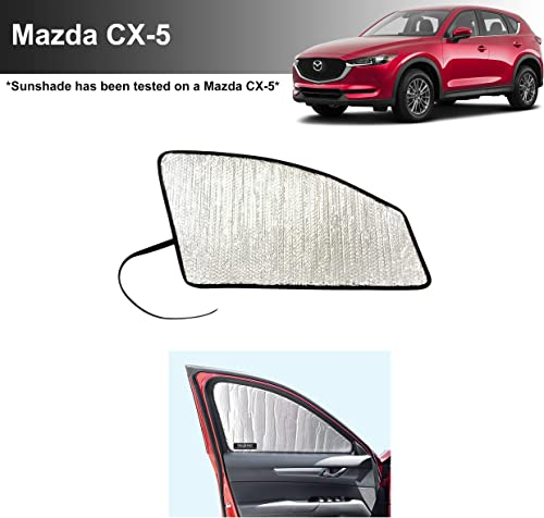 Side Window Front Seat Reflective Sunshade Custom Fit for 2017 2018 2019 2020 2021 Mazda CX-5 CX5, Sport, Touring, Grand Touring, 4 Door Crossover, (Set of 2)