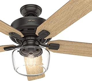 Hunter Fan 52 inch Casual Nobel Bronze Indoor Ceiling Fan with Light Kit and Remote Control (Renewed)