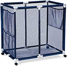 Rolling Pool Storage Bin Cart - Extra Large  - Pool And Ball Storage Organizer With Nylon Mesh Basket - Holds Beach Towels, Toys And Floatation Devices