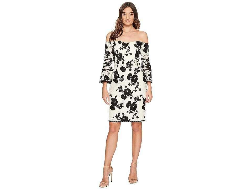 Adelyn Rae Jillian Off the Shoulder Dress (Ivory/Black) Women
