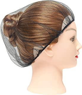 """ABC 100 Pack Black Nylon Hairnets 21"""" Size. Disposable black hairnets. Protective Hair Nets with Elastic Edge Mesh. Stretchable Hairnet Caps for Non-Medical Use. Lightweight, Breathable. Wholesale."""