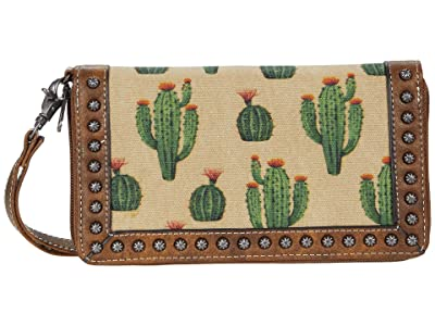 M&F Western Desert Clutch Wallet (Brown/Cream/Cactus) Handbags