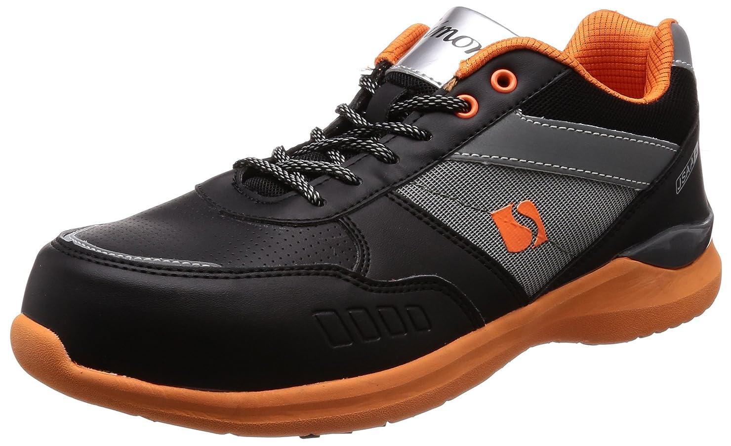 敬礼カストディアンスチュアート島[シモン] プロスニーカー 短靴 JSAA規格 耐滑 軽快 スニーカー 紐 反射 KL511黒/オレンジ
