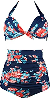Retro 50s Black Pink Blue Floral Halter High Waist Bikini Set Halter Carnival Swimsuit(FBA)