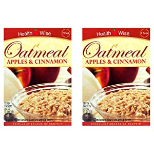 Healthwise - Apple Cinnamon Oatmeal (2 Pack) - High Protein, Low Calorie, Low Sugar, 7 Servings Per Box