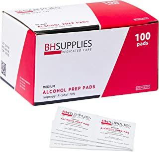 BH Supplies Alcohol Prep Pad Sterile, Medium 2-Ply, 100 count - Saturated With 70% Alcohol