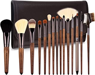 ZOREYA Makeup Brush Set,15pcs Unique Walnut Makeup Brushes with Nobility,Professional Premium Synthetic Foundation Powder Concealers Eye Shadows Makeup brushes Set with Perfect Vegan Leather Bag