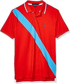 Men's Diagonal Stripe Color Block Jersey Polo Shirt