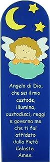 Ferrari & Arrighetti Quadro Angelo di Dio in Legno colorato Blu - 43 x 13 cm