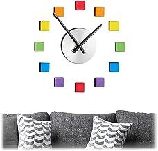 Relaxdays Wandklok DIY, klok wandtattoo om op te plakken, wijzerplaat regenboog, grootte variabel, kinder- en woonkamer, k...