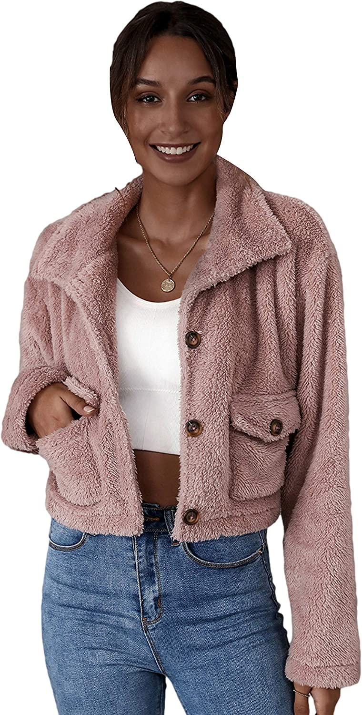 Qiaomai Womens Winter Faux Fur Fuzzy Lapel Button Pocketed Cropped Plain Jacket Coat