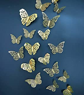 Eoorau 36PCS Gold Butterfly Wall Decals -3D Butterflies Stickers Removable Mural Decor for Kids Room, Party Decoration