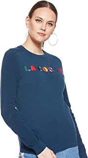 Lacoste Women's LONG SLEEVE LACOSTE GRAPHIC COTTON RIBBED SWEATER Sweaters