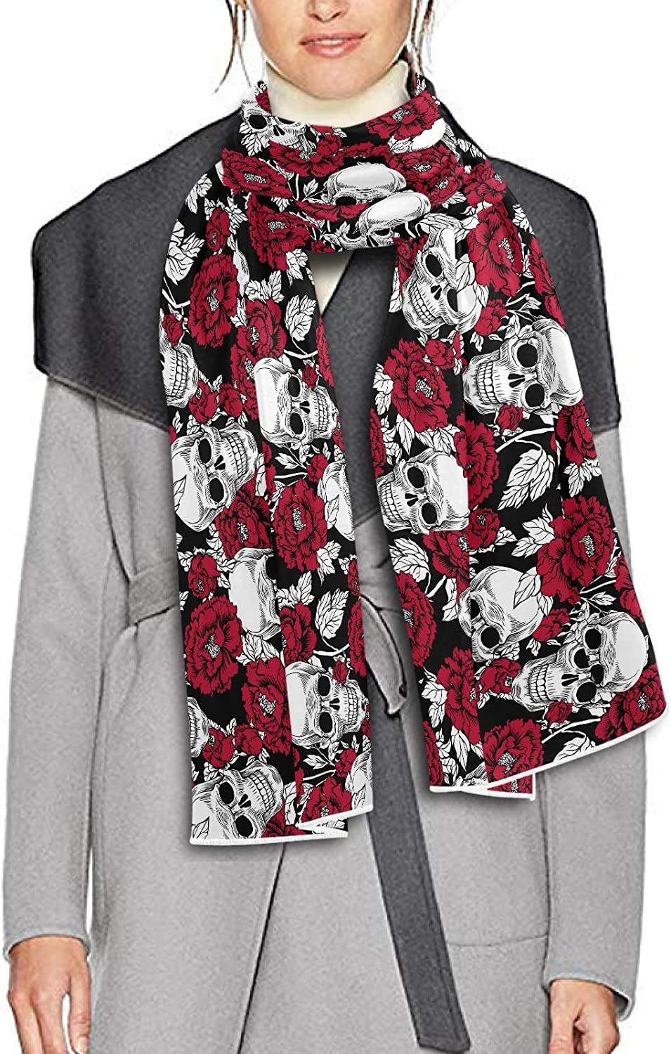 Scarf for Women and Men Day Of The Dead Gold Skull Shawl Wraps Blanket Scarf Warm soft Winter Oversized Scarves Lightweight