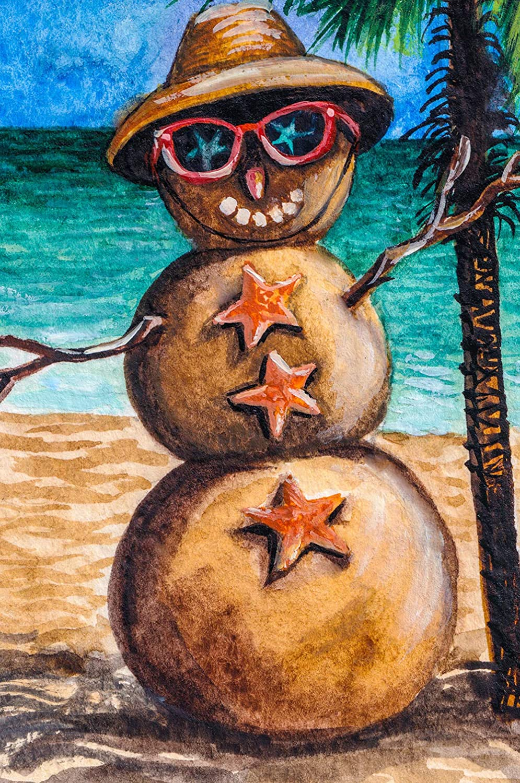 Texupday Smile Sunglasses Snowman Sunbathing on the Beach Hawaii Winter Garden Flag Outdoor Yard Flag 12