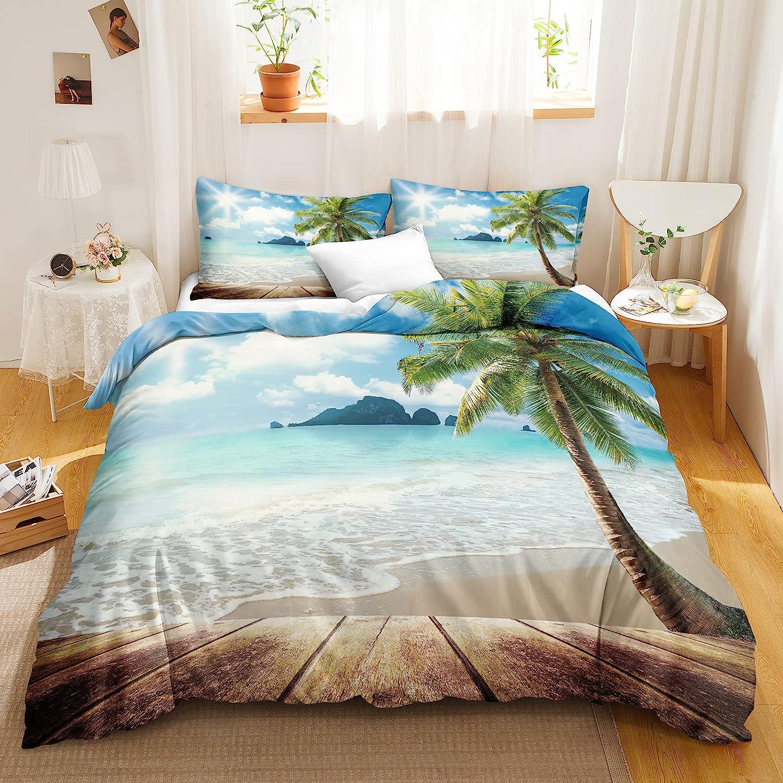 Bedbay Beach Coastal Bedding Set Ocean Themed Duvet Cover Set Sunny Beach  Palm Tree Tropical Comforter Cover King 200 Duvet Cover 20 Pillowcases Sunny  ...