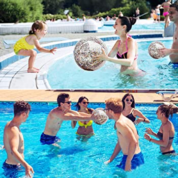 5 Pack Sequin Beach Ball Jumbo Pool Toys Balls Giant Confetti Glitter Inflatable Clear Beach Ball Swimming Pool Water...