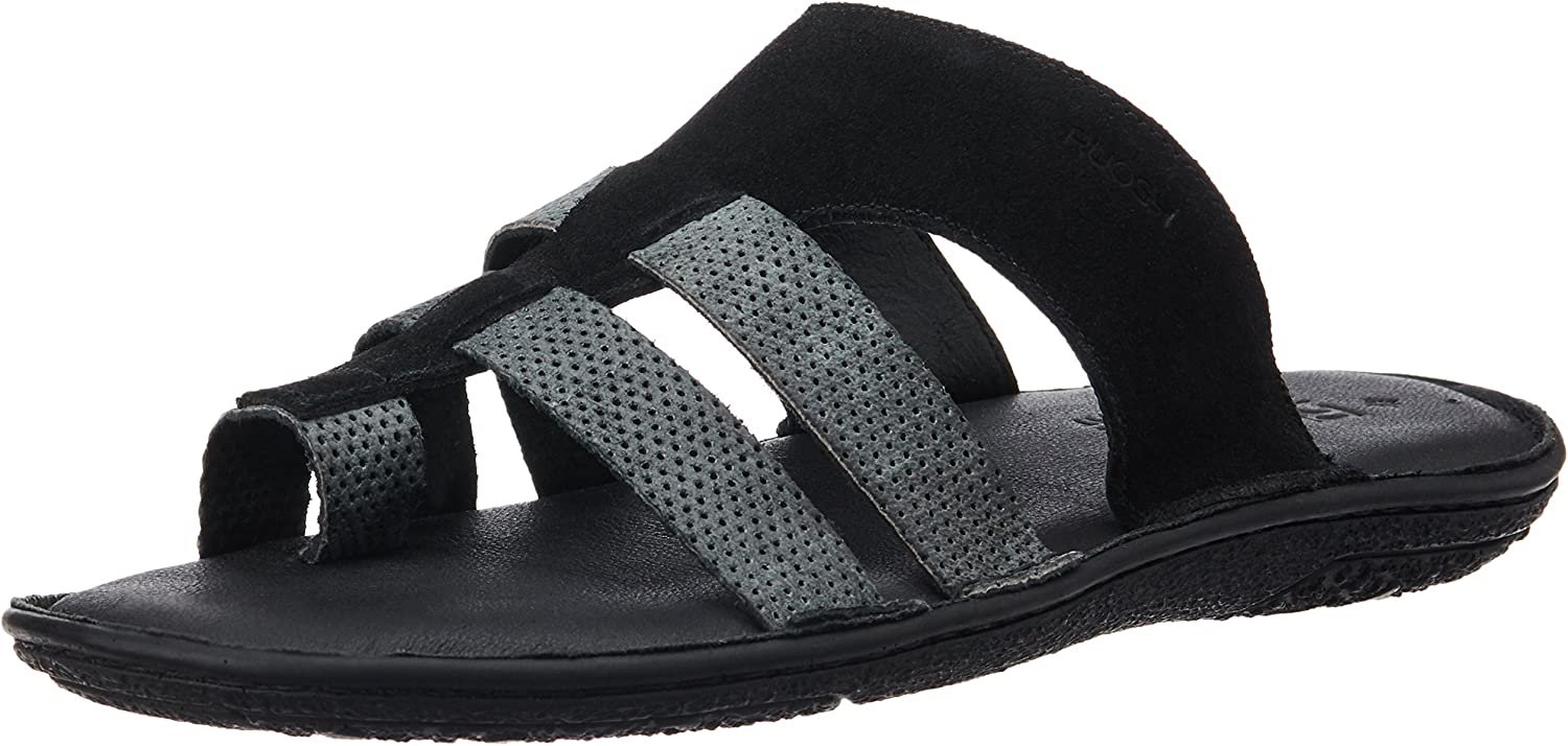 Ruosh Men's Black Leather Sandals and Floaters - 7.5 UK India (41 EU)