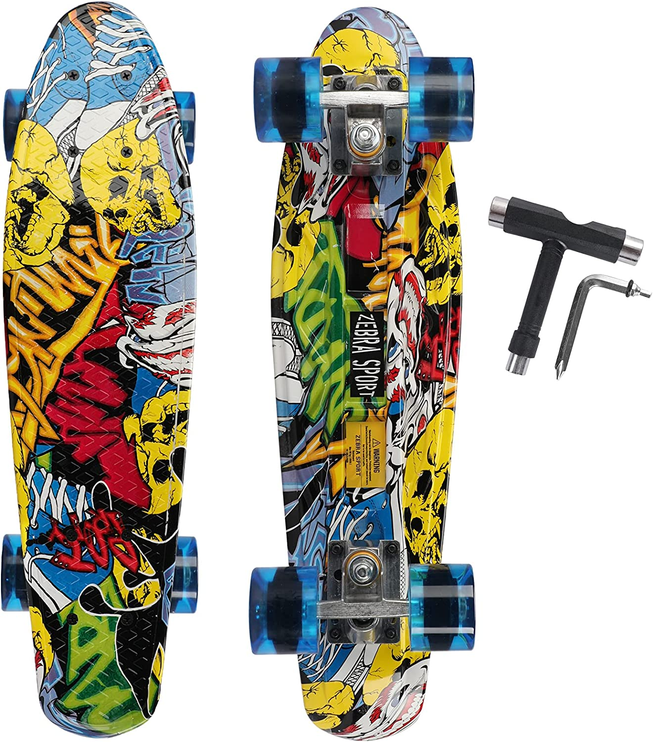 ZEBRA SPORTS 22 Inch Skateboards Max 77% OFF Kids Boys Quantity limited for Beginners Girls