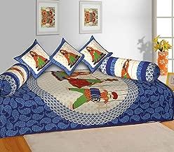 RajasthaniKart® Classic 6 Piece 144 TC Cotton Diwan Set, Multicolour