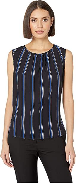 Pleat Neck Sleeveless Blouse
