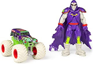 Monster Jam, Official Grave Digger 1:64 Scale Monster Truck and 5-Inch Grim Creatures Action Figure Set, Multicolor