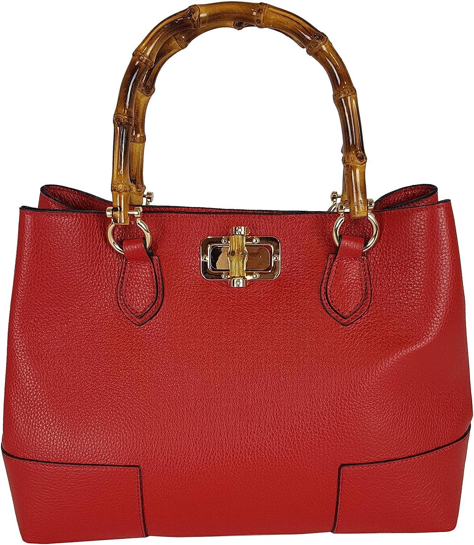 Bamboo Handle Handbag Genuine Leather Shoulder Bag Red Made in