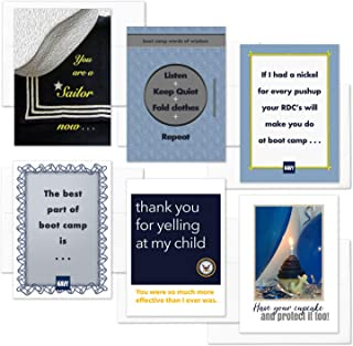 A Sailor Now - United States Navy - Mixed Pack Of 6 - Military Boot Camp Graduation, Encouragement And Birthday Greeting Cards - Includes 6 Envelopes - 5