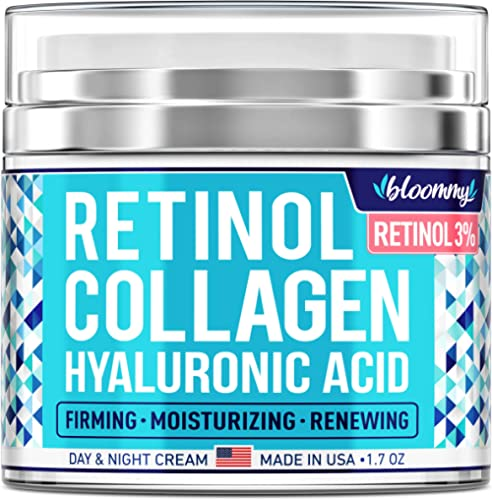 BLOOMMY Collagen & Retinol Cream - Made in USA - Anti Aging Cream for Face with Hyaluronic Acid - Anti Wrinkle Day & ...