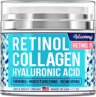 Collagen & Retinol Cream - Made in USA - Collagen Anti Aging Cream for Face with Hyaluronic Acid - Anti Wrinkle Day & Night Retinol Moisturizer 1.7 oz