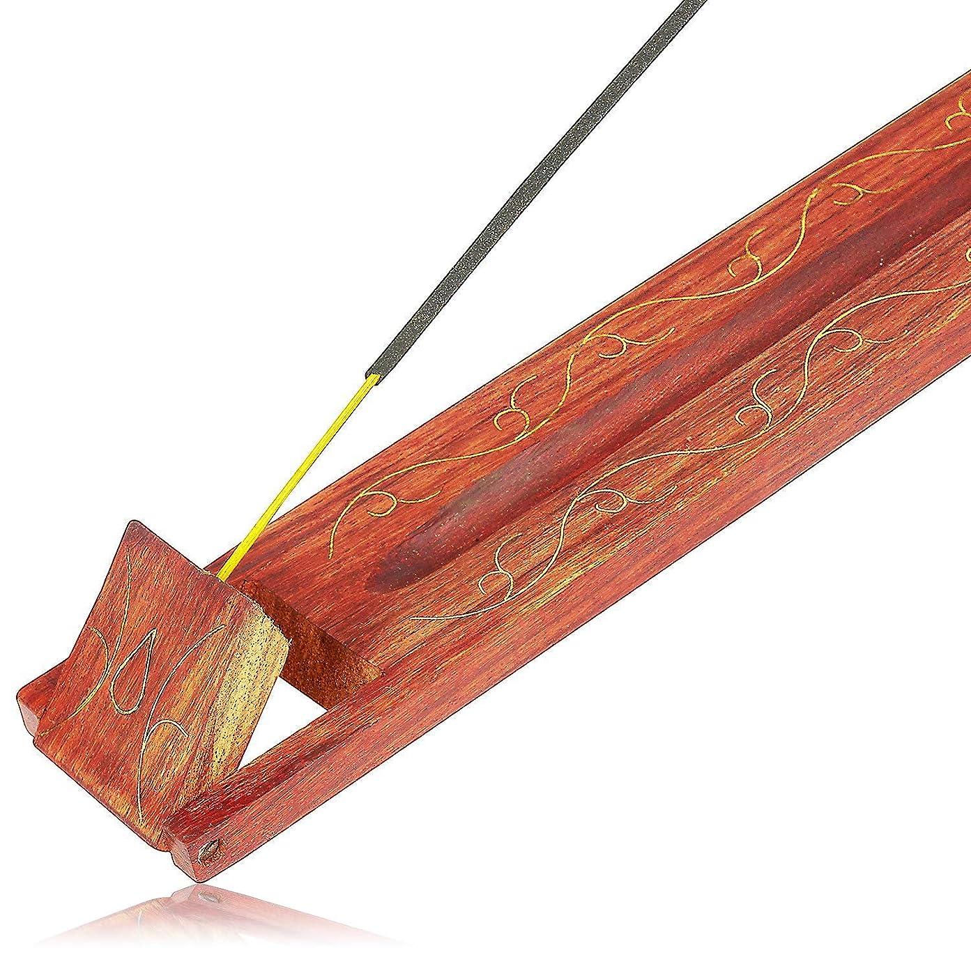プロテスタントニッケル繊毛母の日ギフト木製お香スティックバーナーホルダーリーフオーガニックEco Friendly AshキャッチャートレイAgarbattiホルダー素朴なスタイル手彫りの瞑想ヨガアロマテラピーHome Fragrance製品