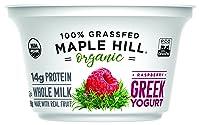 Maple Hill Creamery 100% Grass Fed Organic Greek Yogurt, Raspberry, 5.3 oz