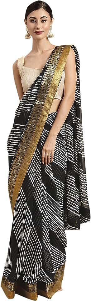 Indian Womanista Women's georgette Saree with blouse piece (TI1407, Black & White) Saree