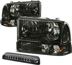 For Ford Super Duty 1st Gen Pair of Smoke Lens Amber Corner Headlight+LED 3rd Brake Light w/o Cargo Light