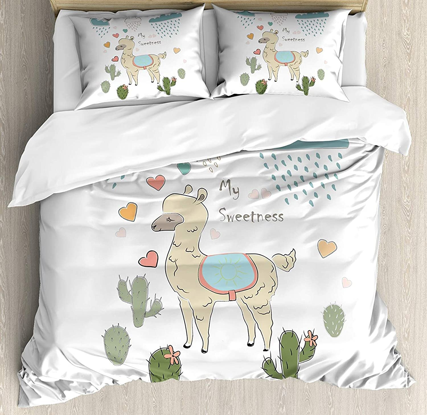 Fandim Fly Llama Bedding Set Full Size, Cute Abstract Alpaca in The Rain with Cactuses Brush Strokes Effect Illustration,Comforter Cover Sets for All Season, Multicolor