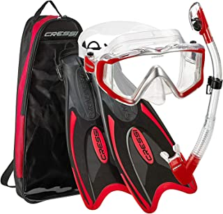 Cressi Italian Design Palau Long Adjustable Snorkeling Fin Flippers with SPE Liberty Ultra-clear Tempered Glass Lens Panoramic View Mask Dry Snorkel Set and Snorkeling Gear Bag