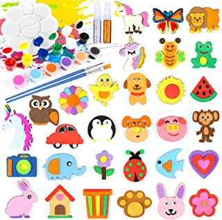 jcaeh Wooden Craft Kits for Kids Age 4-8, 37Pcs Wood Painting Magnets and Art Set for Kids, Art and Craft Supplies Christm...