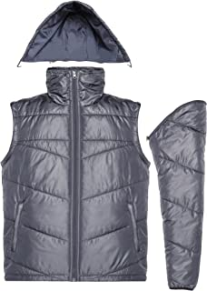 Mens Winter Packable Puffer Coat Down Jacket with Removable Sleeves