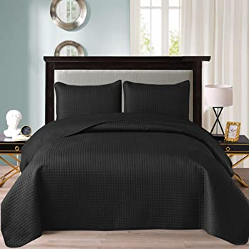 "Exclusivo Mezcla Ultrasonic 2-Piece Twin Size Quilt Set with Pillow Shams, Lightweight Bedspread/Coverlet/Bed Cover - (Black, 68""x88"")"