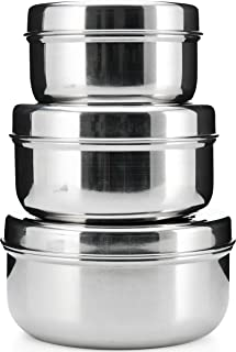 18/8 Stainless Steel 3-pack nesting Lunch Box and food storage container set - Eco friendly, Dishwasher Safe, BPA free, Great for snacks or food storage (10 to 24 fl oz)