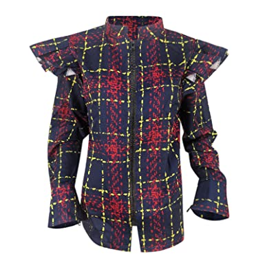 Puff Shoulder Long Sleeve Tops for Women Open Front Short Cardigan Plaid Long Sleeve Office Blazer for Women
