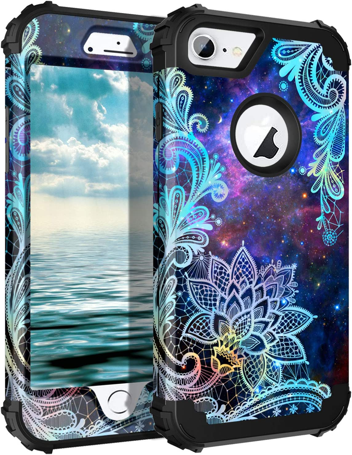 Casetego Compatible with iPhone 8 Case,iPhone 7 Case,Floral Three Layer Heavy Duty Hybrid Sturdy Shockproof Full Body Protective Cover Case for Apple iPhone 8/7,Mandala