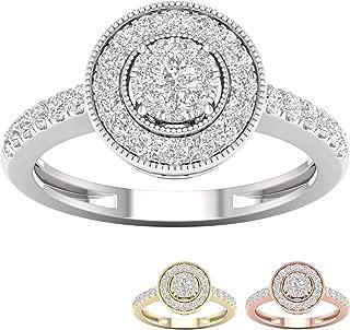 10k Gold 1/2 ct TDW IGI Certified Diamond Halo Engagement Ring (I-J   I2)