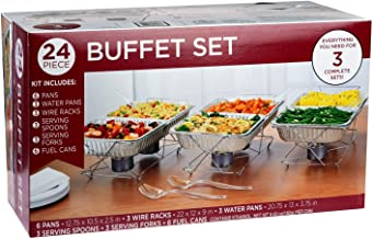 24 Piece Party Serving Kit Includes Chafing Kits and Serving Utensils For All Types Of Parties And Events   Disposable Party Set