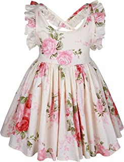 Vintage Floral Girls Dress Summer Cotton Backless Straps/Sling for Wedding Birthday 1-12 Years