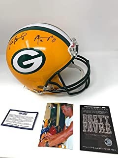 Aaron Rodgers Brett Favre Green Bay Packers Dual Signed Autograph Full Size Proline Authentic Helmet Favre & Steiner Sports Certified