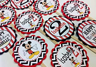 12 Cupcake Toppers - Mickey Mouse Inspired Happy Birthday Collection - Black Chevron & Red Stripes & White Accents - Party Packs Available
