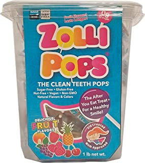 Zollipops Clean Teeth Pops, Anti Cavity Lollipops, Delicious Assorted Flavors, 1 LB Tub