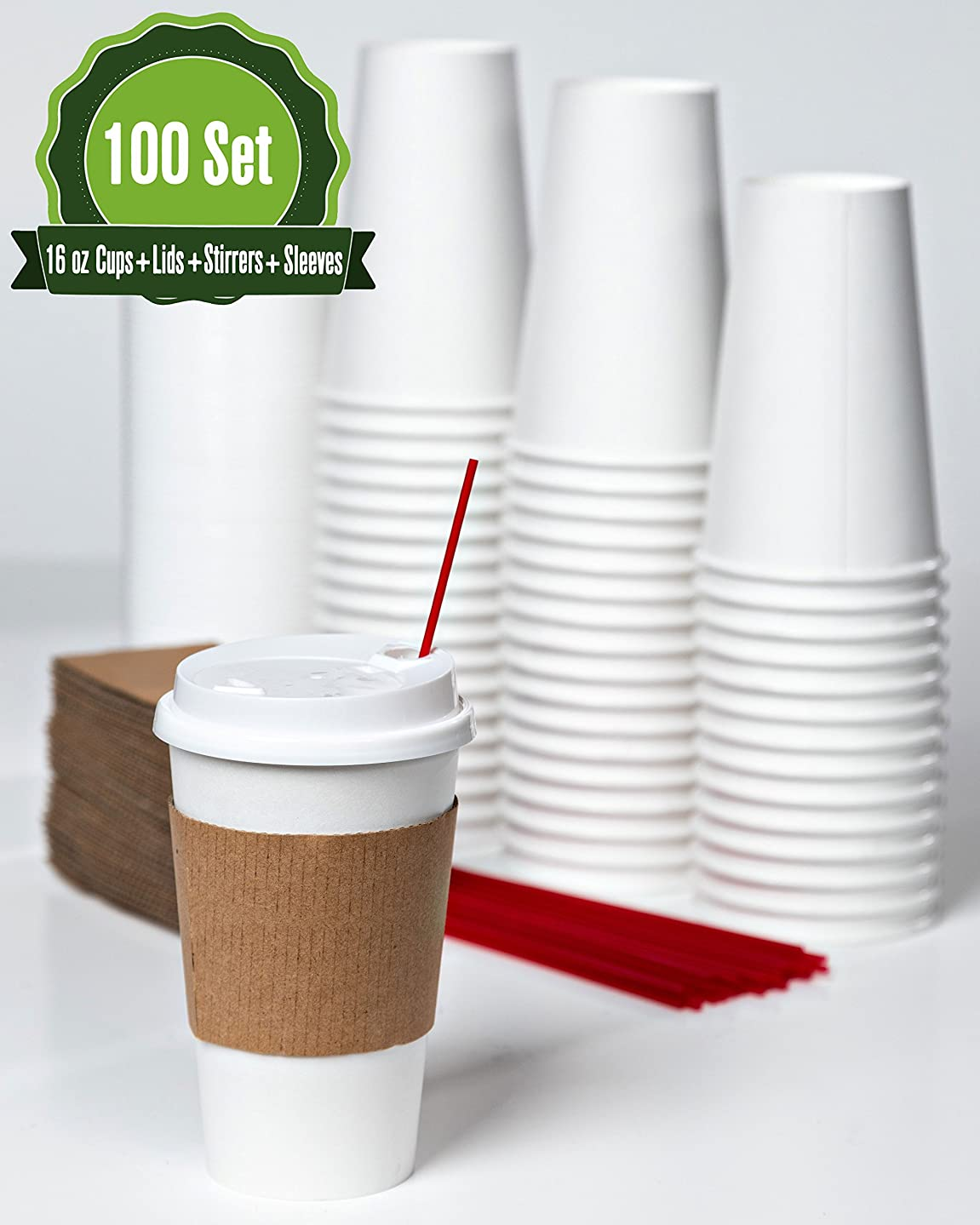 16oz- 100 Sets White Paper Coffee Cups with Lids, Sleeves, and Stirrers
