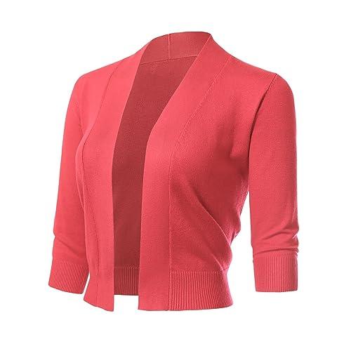 ARC Studio Women s Classic 3 4 Sleeve Open Front Cropped Cardigans (S-XL c1a5193da